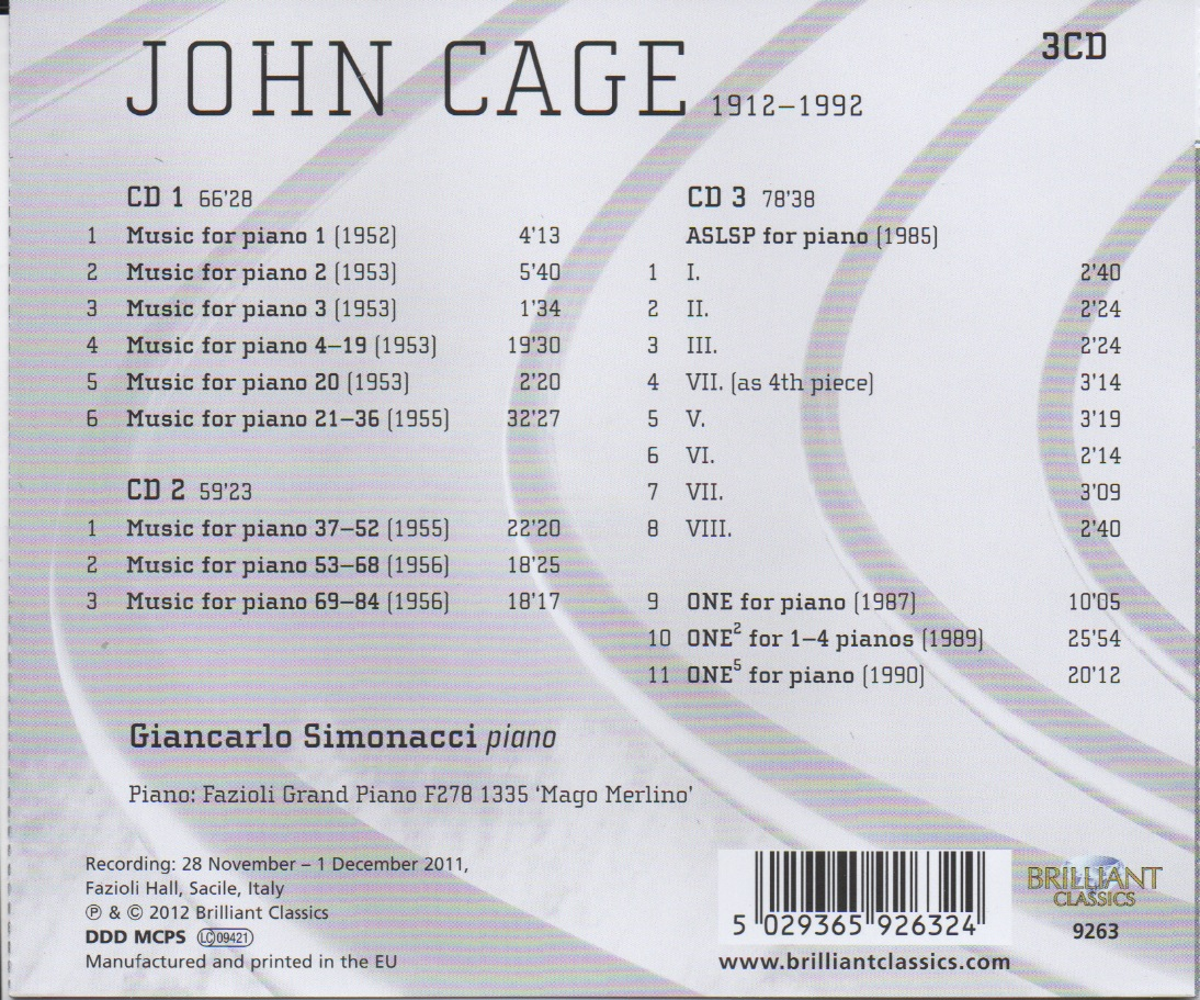 john cage music for piano 1 84 aslsp one retro cd