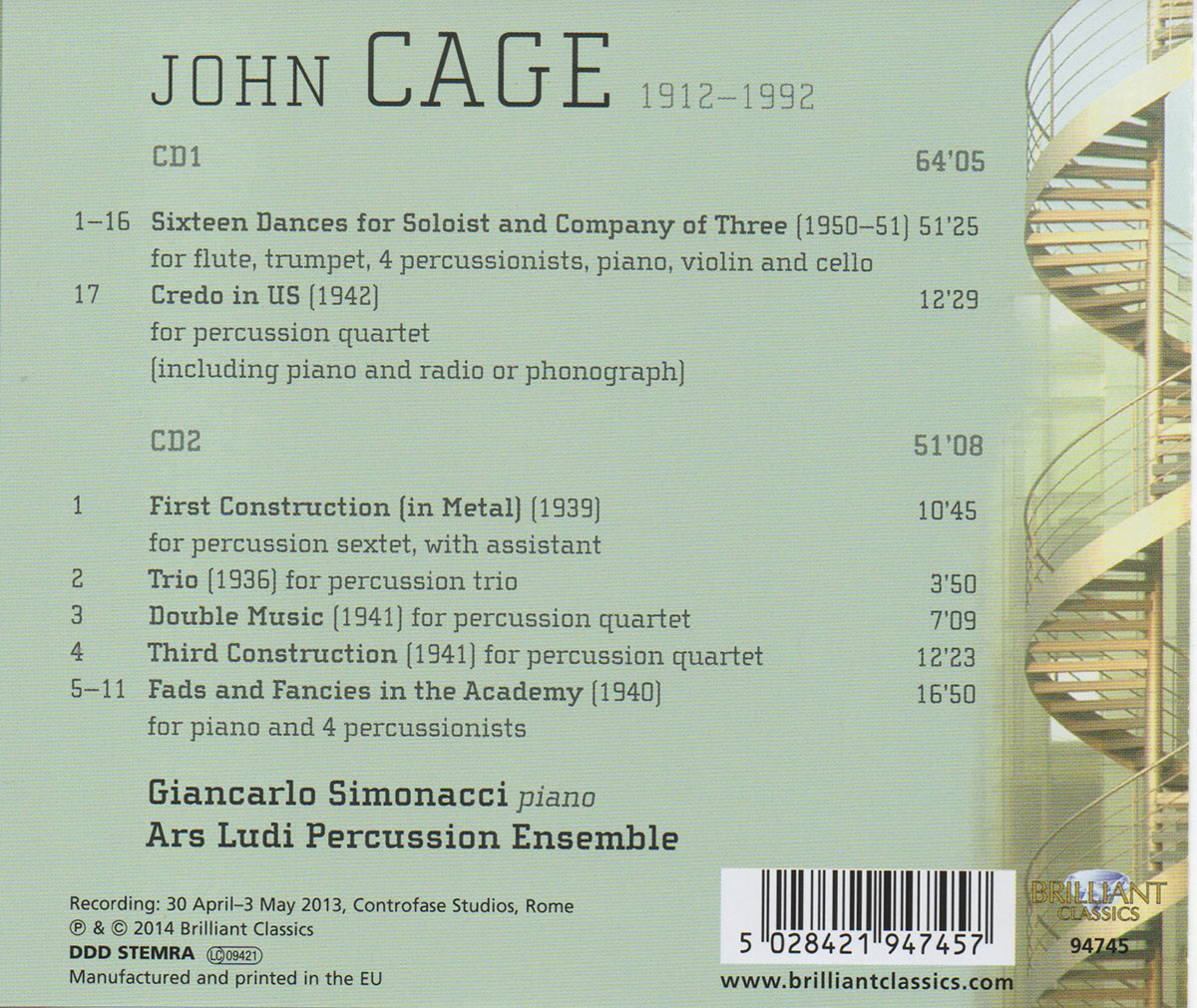 retro j cage music for piano and percussions